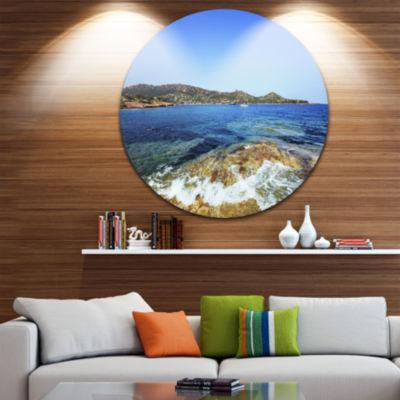 Design Art Agay Bay in Esterel Rocks Beach Oversized Beach Metal Circle Wall Art