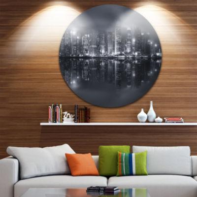 Design Art Hong Kong Black and White Skyline Cityscape Metal Circle Wall Art