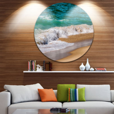 Design Art Typical Atlantic Seashore in SummertimeSeashore Metal Circle Wall Art