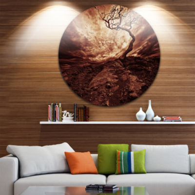 Design Art Dramatic White Sun over Lone Tree ExtraLarge Wall Art Landscape