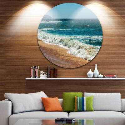 Design Art Ideal Blue Atlantic Beach in SummertimeSeashore Metal Circle Wall Art