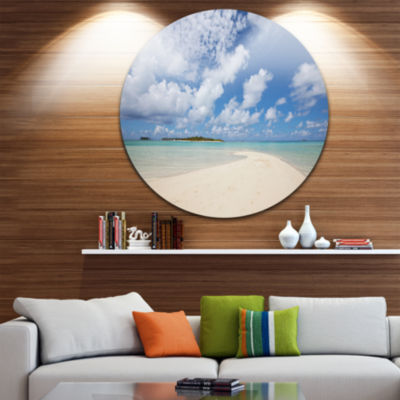 Design Art Serene Maldives Beach under Clouds Extra Large Seascape Metal Wall Decor