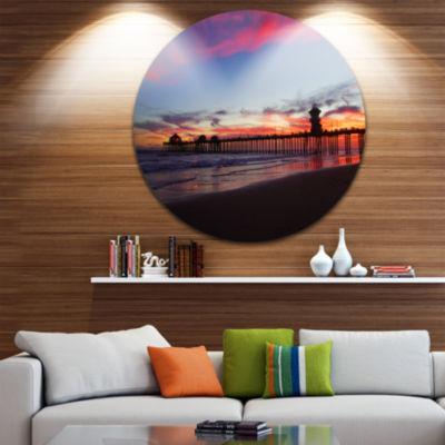 Design Art Sea Bridge in California with Red Clouds Seashore Metal Circle Wall Art