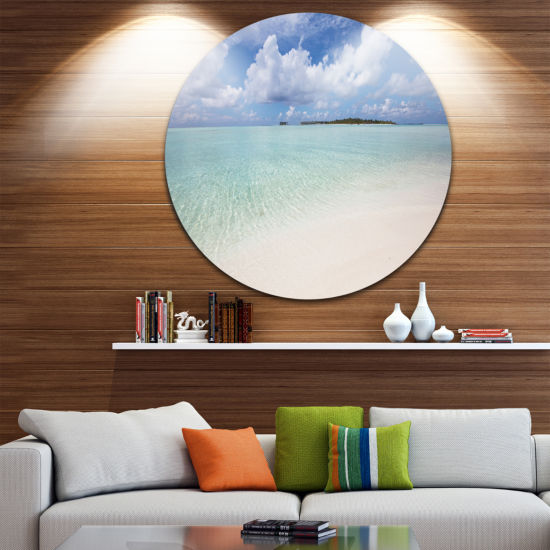 Design Art Fascinating Maldives Empty Seashore Extra Large Seascape Metal Wall Decor