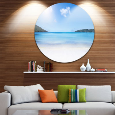 Design Art Calm Beach of Azure Indian Ocean Seashore Metal Circle Wall Art