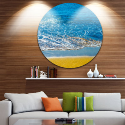 Design Art Sandy Beach and Calm Blue Sea Surf Seashore Metal Circle Wall Art