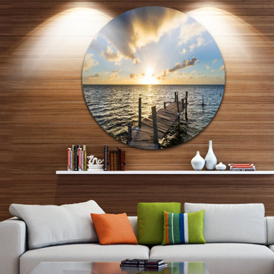 Design Art Abandoned Boardwalk in Seashore BridgeMetal Circle Wall Art