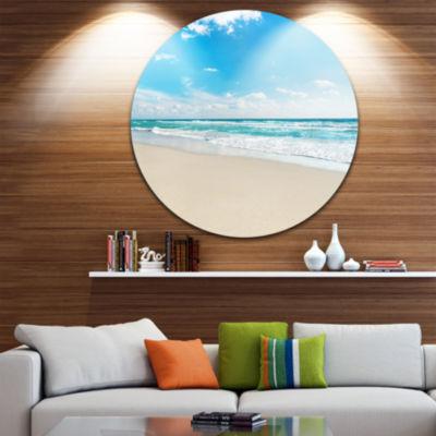 Design Art Sea Beach against Wave Foaming SeashoreMetal Circle Wall Art