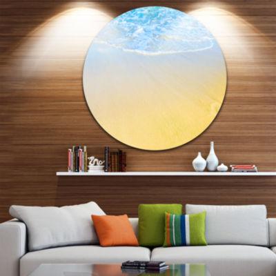 Design Art Smooth Sea Surf over Blue Waters Seashore Metal Circle Wall Art