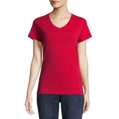 St. John's Bay Short Sleeve V Neck T-Shirt-Womens