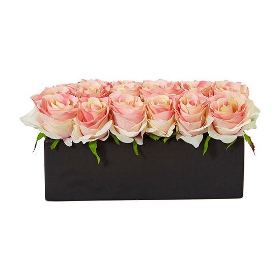 Dozen Silk Roses in Ceramic Rectangular Planter