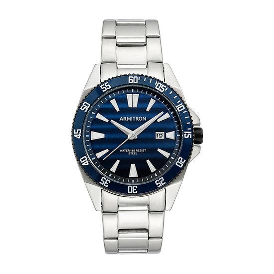 Armitron Mens Silver Tone Stainless Steel Bracelet Watch - 20/5442nvsv