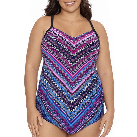 Trimshaper Striped Tankini Swimsuit Top Plus