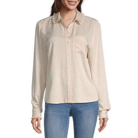 a.n.a Womens Long Sleeve Twill Blouse, X-small , Pink