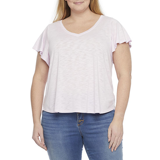 a.n.a Womens Plus Scoop Neck Short Sleeve T-Shirt
