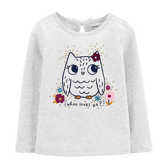 Carter's Toddler Girls Round Neck Long Sleeve Graphic T-Shirt