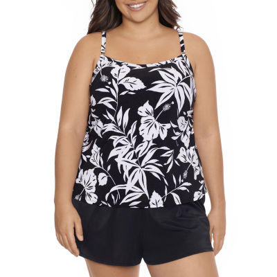 Trimshaper Womens Floral Swim Dress Plus