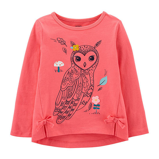 Carter's Toddler Girls Round Neck Long Sleeve Graphic T-Shirt