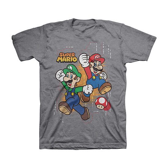 Little & Big Boys Crew Neck Super Mario Short Sleeve Graphic T-Shirt