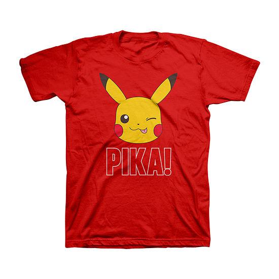 Little & Big Boys Crew Neck Pokemon Short Sleeve Graphic T-Shirt