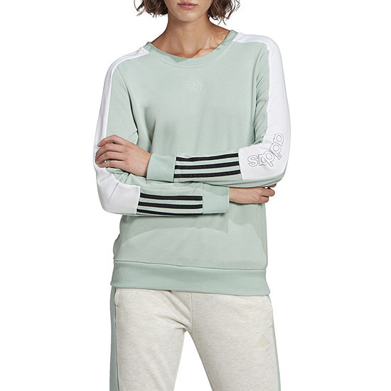 adidas Adidas Essentials Logo Colorblock Sweatshirt Womens Crew Neck Long Sleeve Sweatshirt