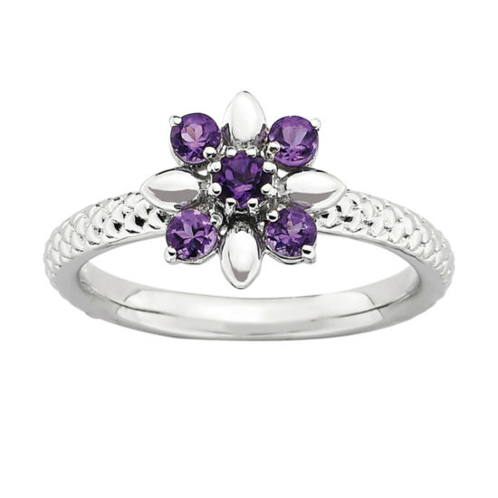 Sterling Silver Gemstone Flower Stackable Ring