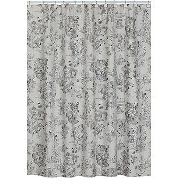 Sketchbook Botanical Toile Shower, Black Toile Curtains