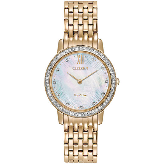 Citizen Silhouette Crystal Womens Crystal Accent Rose Goldtone Stainless Steel Bracelet Watch-Ex1483-50d