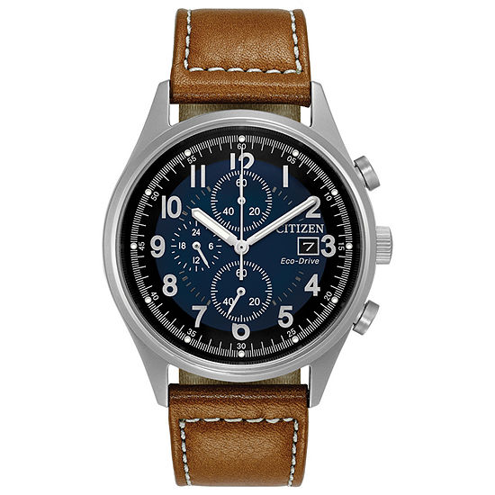 Citizen Chandler Mens Chronograph Brown Leather Strap Watch-Ca0621-05l