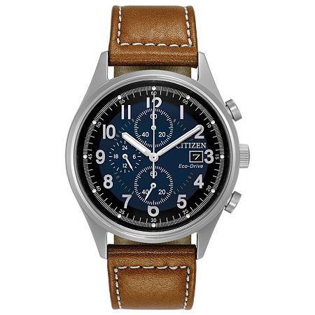 Citizen Chandler Mens Chronograph Brown Leather Strap Watch-Ca0621-05l, One Size