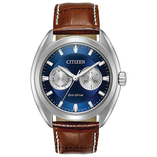 Citizen Paradex Mens Brown Leather Strap Watch-Bu4010-05l