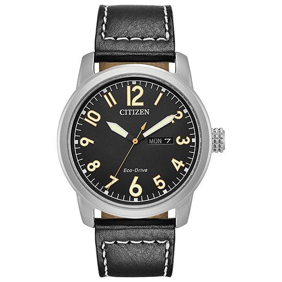 Citizen Chandler Mens Black Leather Strap Watch-Bm8471-01e