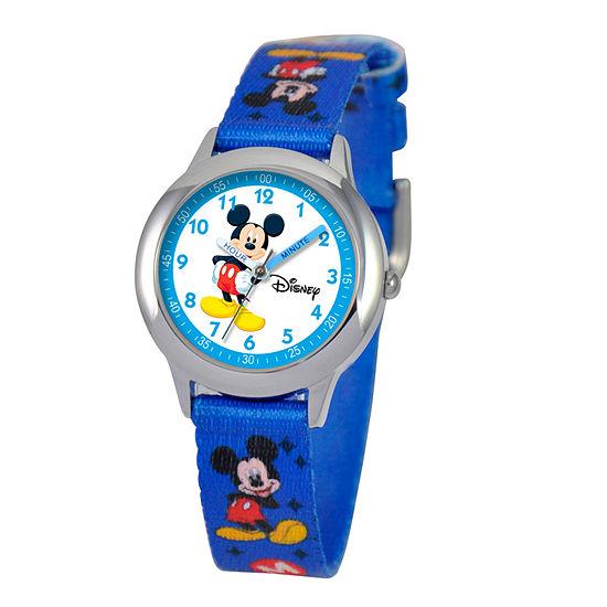 Set With Swarovski Crystals Mickey Mouse Boys Blue Strap Watch-W000014