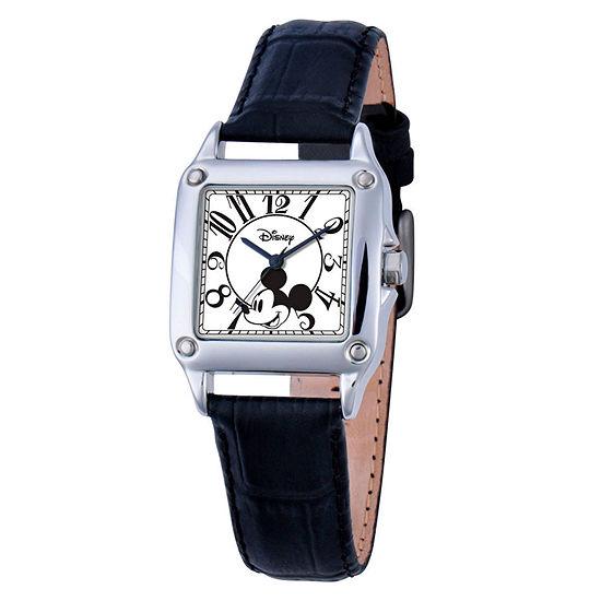 Disney Set With Swarovski Crystals Mickey Mouse Womens Black Leather Strap Watch-W000464