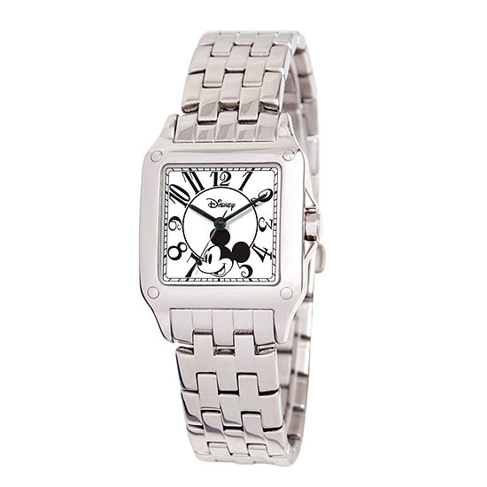 Disney Set With Swarovski Crystals Mickey Mouse Womens Silver Tone Stainless Steel Bracelet Watch-W000469