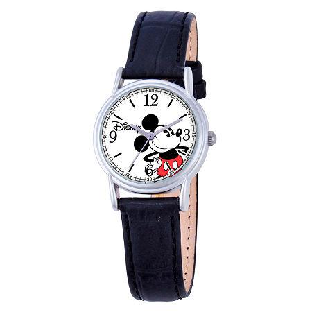 Disney Mickey Mouse Womens Black Leather Strap Watch W000547, One Size