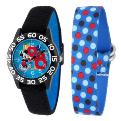 Disney Mickey Mouse Boys Black Strap Watch-W002160