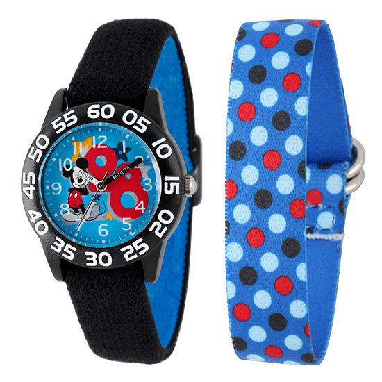 Mickey Mouse Boys Black Strap Watch-W002160