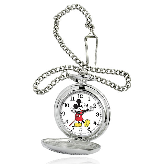 Disney Mickey Mouse Mens Silver Tone Pocket Watch-56403-3467