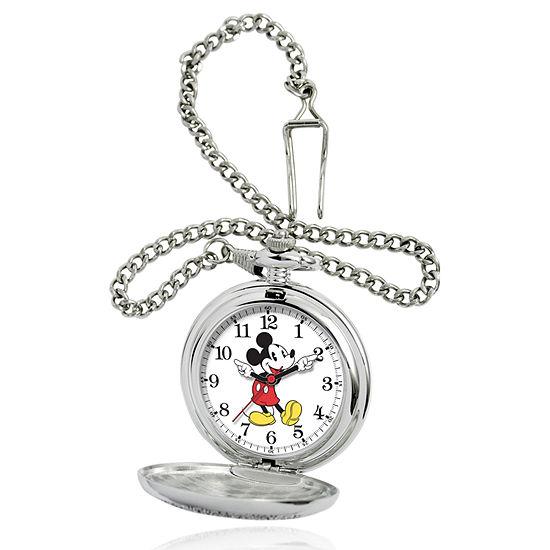 Disney Mickey Mouse Mens Silver Tone Pocket Watch-56403-3467