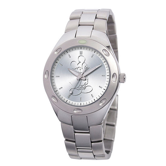 Disney Mickey Mouse Mens Silver Tone Stainless Steel Bracelet Watch-59007-1
