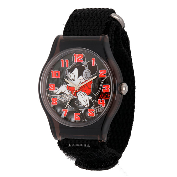 Disney Mickey Mouse Boys Black Strap Watch-W001691