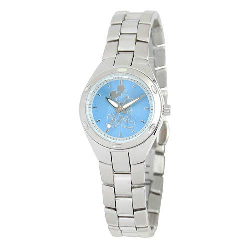 Disney Mickey Mouse Womens Silver Tone Bracelet Watch-W001906