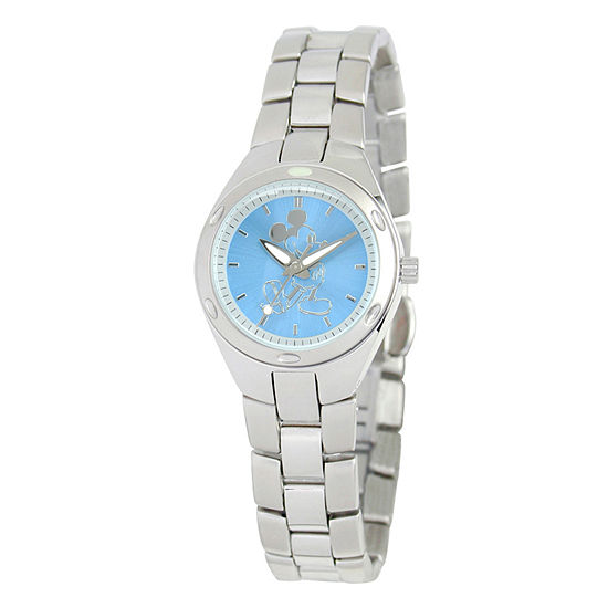 Disney Mickey Mouse Womens Silver Tone Stainless Steel Bracelet Watch - W001906