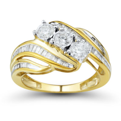Womens 1 CT. T.W. Genuine Round White 10K Gold 3-Stone Ring