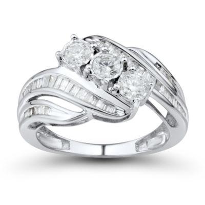 1 CT. T.W. White 10K Gold 3 Stone Ring