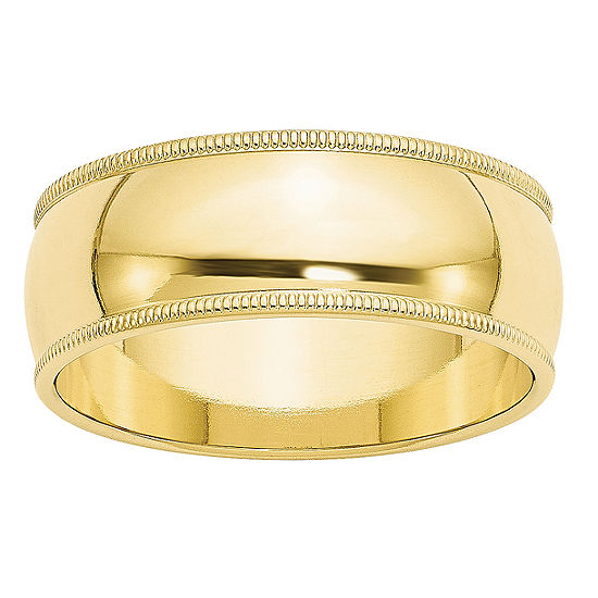 Womens 8MM 10K Gold Wedding Band