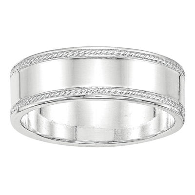 Mens 7mm Sterling Silver Band