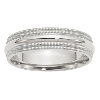 Womens 6mm Sterling Silver Band