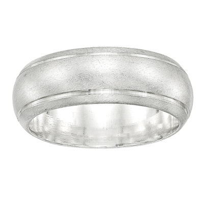 Womens 8mm Sterling Silver Band